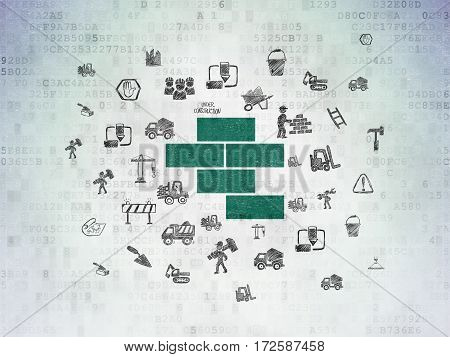 Building construction concept: Painted green Bricks icon on Digital Data Paper background with  Hand Drawn Building Icons