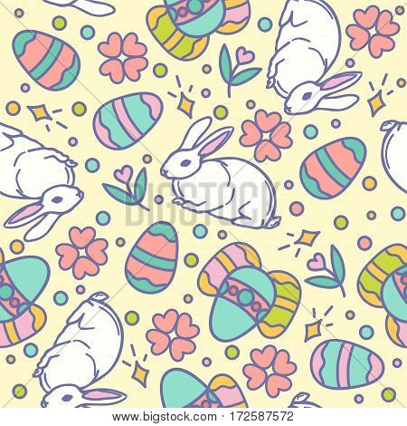 Easter seamless pattern design vector illustration. Line style bunnies and eggs