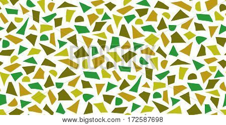 Green seamless pattern of hand-drawn geometric elements