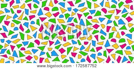 Seamless pattern of hand-drawn geometric elements with dashed line