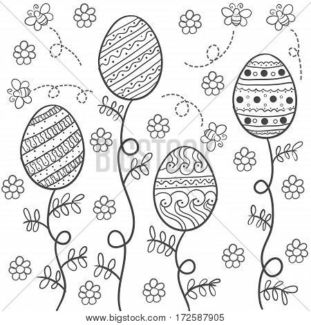 Doodle of easter hand draw style vector art