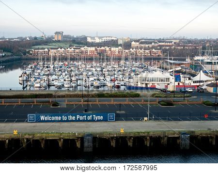 NEWCASTLE, ENGLAND - 21 JAN 2017: View on marina of the Port of Tyne. It offers summer dockage and winter storage for recreational boats in North Shields