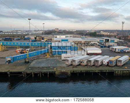 NEWCASTLE, ENGLAND - 21 JAN 2017: View on the passenger terminal in the Port of Tyne, Newcastle. The North Shields cruise port welcomes up to 50 ferry ships and is the gate to northern England