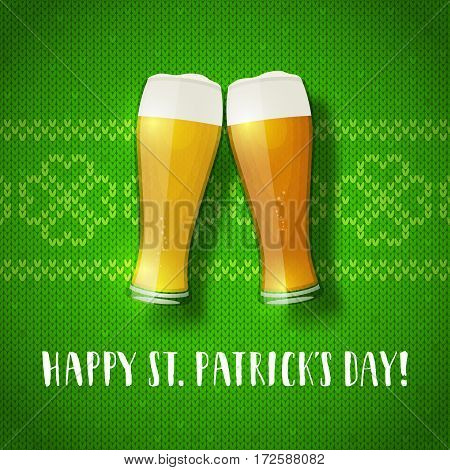 Beer glasses on a knit pattern. St. Patrick's day greeting card with hand drawn lettering and green sweater texture. Shamrock knit background.