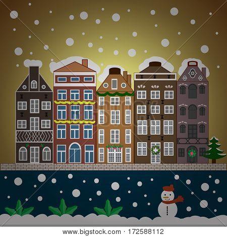 Urban winter landscape. Snowy street. Christmas card Happy Holidays banner. Flat design. Vector illustration.