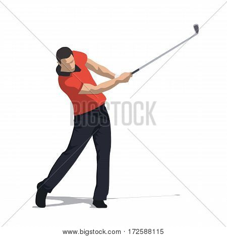 Golf swing front view abstract vector illustration. Golfer in orange shirt and dark trousers