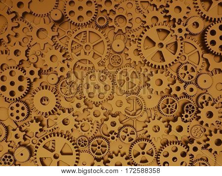 Crazy mechanics background. Gears and cogs. 3d illustration