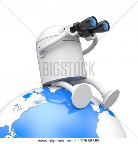 The robot looks to the future through binoculars. 3d illustration