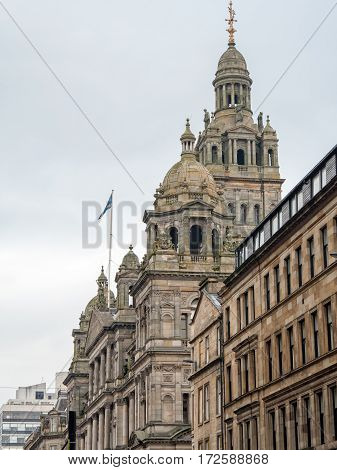The Glasgow City Chambers on George Square, built in 1883. The building is still the headquarters of Glasgow City Council.