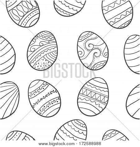 Doodle of easter egg style various hand draw vector