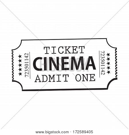 One retro style, vintage cinema, movie ticket, black and white sketch vector illustration isolated on white background. Hand drawn cinema, movie ticket, pass, cinema object