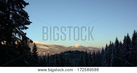 Beautiful panorama view of mountains Carpathians Bukovel