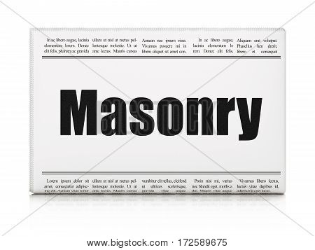 Constructing concept: newspaper headline Masonry on White background, 3D rendering