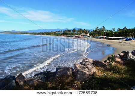 IXTAPA,MEXICO-Dec.4,2016: View of Playa Linda in Ixtapa,Guerrero,Mexico.
