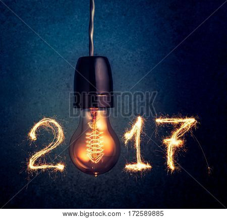 2017 Written With Sparkle Firework And  Light Bulb , Abstract 2017 Happy New Year Background Concept