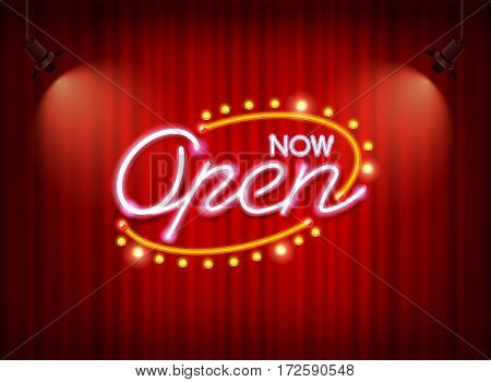 now open neon sign light glow on curtain mesh object vector but easy to change color