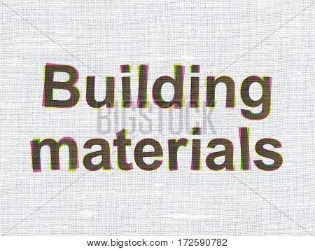 Constructing concept: CMYK Building Materials on linen fabric texture background