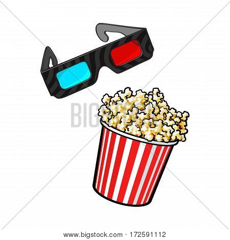 Cinema objects - popcorn and 3d, stereoscopic glasses, sketch style vector illustration isolated on white background. Cinema, movie attributes like popcorn in red and white bucket and 3d glasses