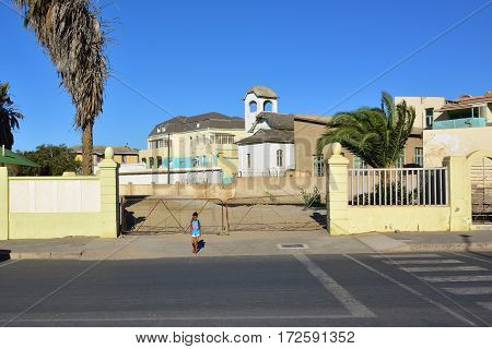 LUDERITZ NAMIBIA - JAN 26 2016: Street scene in Luderitz Luderitz is a harbour town in southwest Namibia lying on one of the least hospitable coasts in Africa