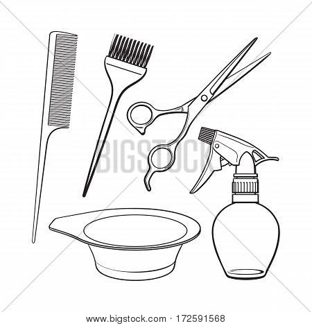 Set of hairdresser objects - scissors, brush, comb, coloring bowl and spray bottle, sketch style vector illustration isolated on white background. Hairdresser, hair stylist tools, objects, attributes