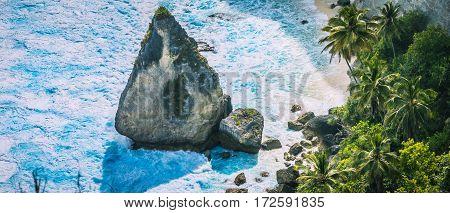 Close up of the Rock in Blue Ocean Foram near Atuh Beach, Nusa Penida, Bali Indonesia.