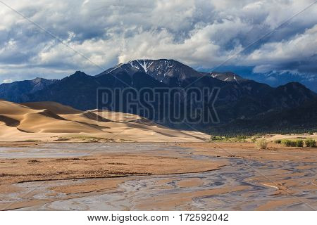 Medano Creek flows for a very brief period each year at the Great Sand Dunes in Colorado