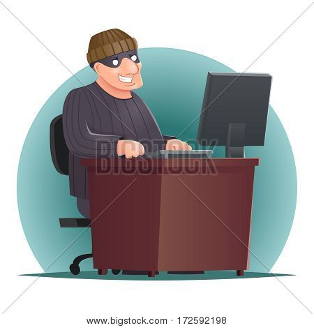 Criminal Hacker Adult Online Thief Computer Table Character Icon Retro Cartoon Vector Illustration