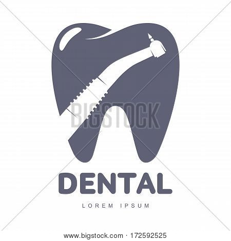 Graphic, black and white tooth, dental care logo template with drill silhouette over tooth shape, vector illustration isolated on white background. Tooth, dental care logotype, logo design