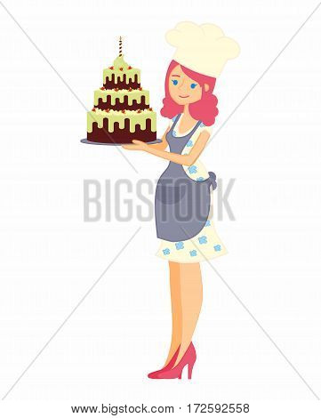 Female character with a cake. Beautiful housewife in dress and apron, woman master baker holding a delicious pie. Vector illustration in a flat style