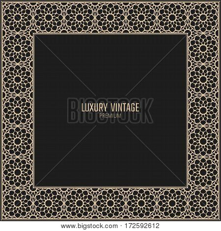 Vector golden frame. Square vintage card for design. Premium background in luxury style.