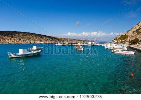 Fishing boats in the harbor of Iraklia island in Lesser Cyclades, Greece.