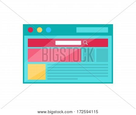 Browser page vector concept. Flat design. Site page with schematic elements of web design opened in browser window. Location of search line, banners, pictures, text on landing page. Isolated on white