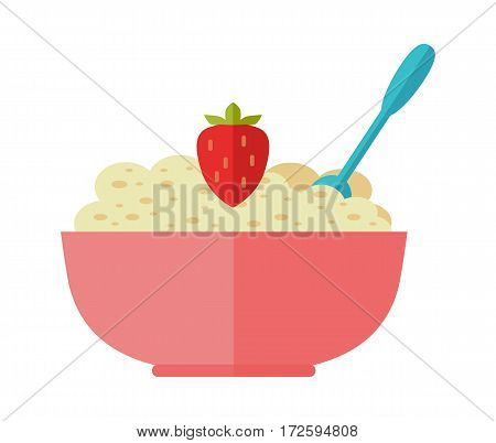 Oatmeal vector illustration in flat design. Cereal porridge in red plate with spoon and strawberries. Natural and healthy nutrition. For food, diet concept, milk production ad. On white background