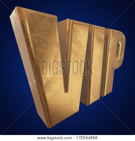 Golden letters VIP. 3d render on blue background. Very mportant person word