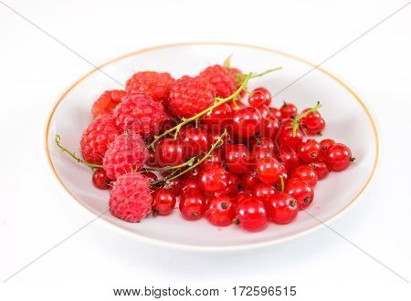 Berries red currant and raspberry on a plate. Ripe fruit. Close-up.