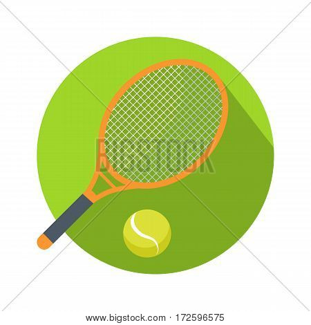 Racket and ball icon logo for tennis web button. Isolated on white background illustration with shadow. Hobby activity sport game, combinated equipment racquet and ball symbol for tennis. Vector