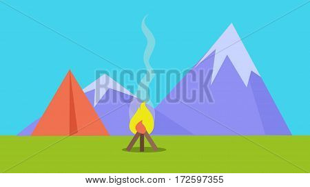 Camping tent near fire and mountains on background in flat style. Recreation activity. Can be used for web banners, marketing and promotional materials, presentation templates. Hiking concept. Vector