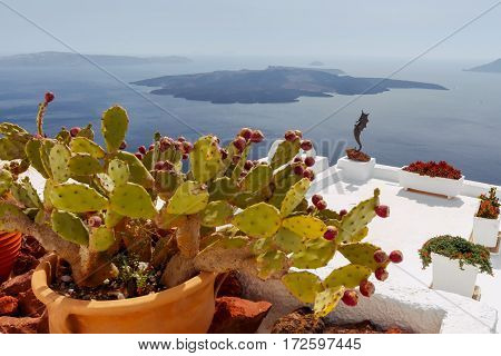Scenic view from the village Fira on the volcanic caldera. Greece.