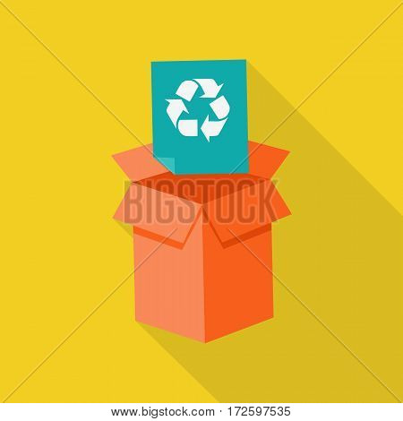 Waste recycling icon with long shadow on yellow background. Orange cardboard box with recycling symbol. Sorting process different types of waste. Garbage destroying. Vector illustration.