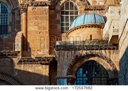 Detail of a wall of Church of the Resurrection (temple of the Lord's Coffin). Jerusalem. Israel