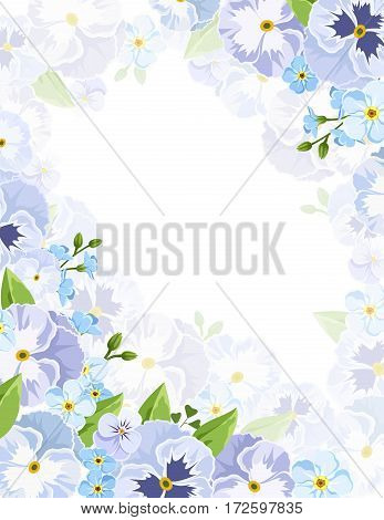Vector background flyer with blue pansy and forget-me-not flowers and green leaves.