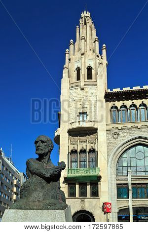 BARCELONA/ SPAIN - SEPTEMBER 29. Monument to Francesc Cambo by Victor Ochoa on Via Laitana in front of the pension fund Caixa de Pensions on September 29, 2014. Barcelona, ​​Spain