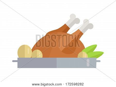 Fried poultry vector Illustration. Flat style design. Thanksgiving day. Traditional dish with vegetables and chicken, turkey, duck, goose. Picture for culinary recipes, cafe menu illustrating, icons.