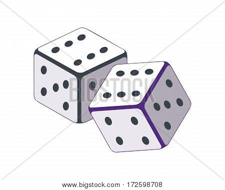Dice vector in flat style. Traditional instrument for street cheaters. Illustration for gambling industry, sport lottery services, icons, web pages, logo design. Isolated on white background.