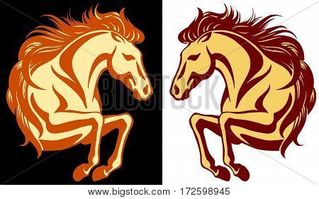 Clip-art of jumping horse - 2 variations in different colours