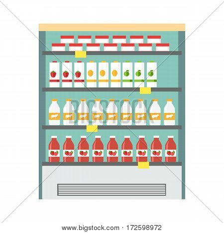 Showcase refrigerator for cooling dairy products. Different colored bottles in blue drinks fridge. Fridge dispenser cooling machine. Isolated object in flat design on white background.