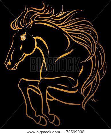Clip-art of jumping horse - orange on black