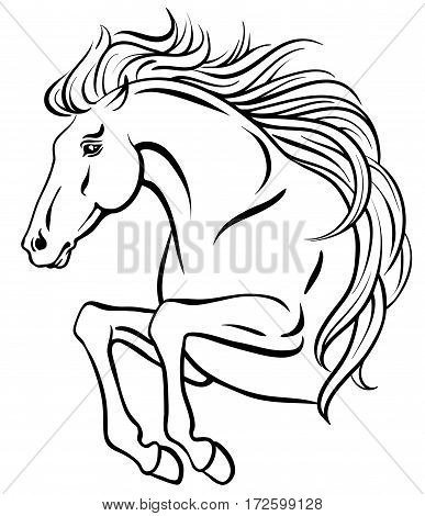 Outline clip-art of jumping horse with long mane
