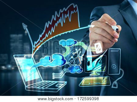 Close up of businessman drawing on screen cloud computing concept