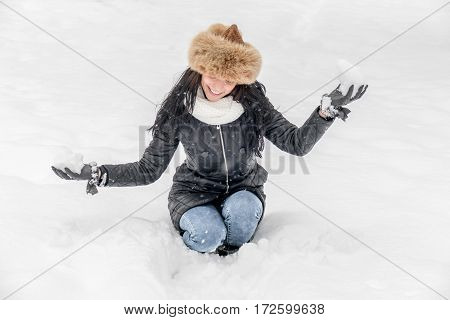 Happy Winter Woman In The Snow